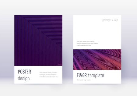 Minimalistic cover design template set. Violet abstract lines on dark background. Emotional cover design. Breathtaking catalog, poster, book template etc.