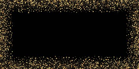 Gold confetti luxury sparkling confetti. Scattered small gold particles on black background. Bold festive overlay template. Actual vector illustration.