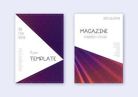 Triangle cover design template set. Violet abstract lines on dark background. Interesting cover design. Alluring catalog, poster, book template etc.
