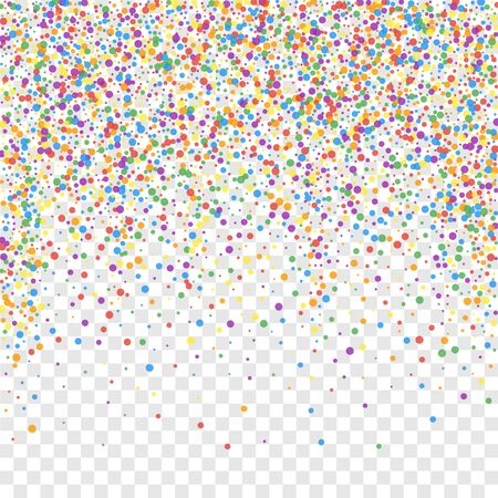 Festive confetti. Celebration stars. Joyous confetti on transparent background. Eminent festive overlay template. Enchanting vector illustration.