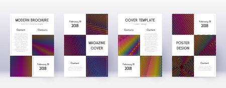 Business brochure design template set. Rainbow abstract lines on wine red background. Alive brochure design. Astonishing catalog, poster, book template etc.