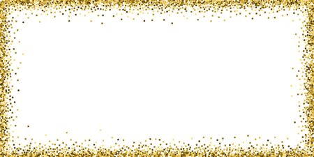 Gold glitter luxury sparkling confetti. Scattered small gold particles on white background. Bold festive overlay template. Graceful vector illustration.