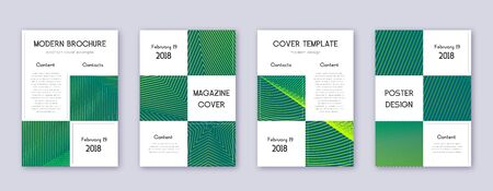 Business brochure design template set. Green abstract lines on dark background. Adorable brochure design. Dazzling catalog, poster, book template etc.