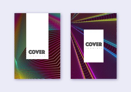 Hipster cover design template set. Rainbow abstract lines on wine red background. Classy cover design. Enchanting catalog, poster, book template etc. Illustration