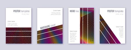 Geometric brochure design template set. Rainbow abstract lines on wine red background. Alluring brochure design. Powerful catalog, poster, book template etc.