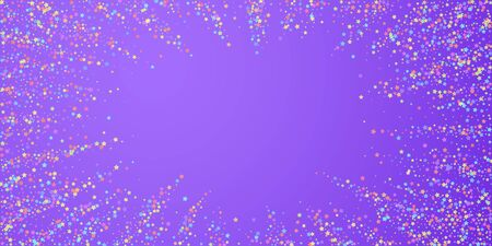 Festive confetti. Celebration stars. Colorful stars on bright purple background. Ecstatic festive overlay template. Superb vector illustration.