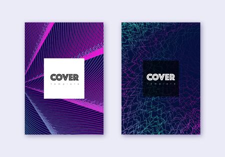 Hipster cover design template set. Neon abstract lines on dark blue background. Cool cover design. Imaginative catalog, poster, book template etc. 일러스트