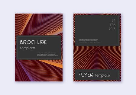 Black cover design template set. Orange abstract lines on wine red background. Admirable cover design. Shapely catalog, poster, book template etc. Illusztráció