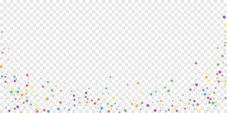 Festive confetti. Celebration stars. Joyous stars on transparent background. Decent festive overlay template. Delicate vector illustration. Ilustrace