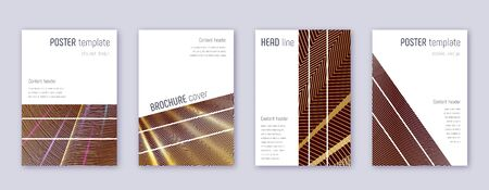 Geometric brochure design template set. Gold abstract lines on bordo background. Alive brochure design. Quaint catalog, poster, book template etc.