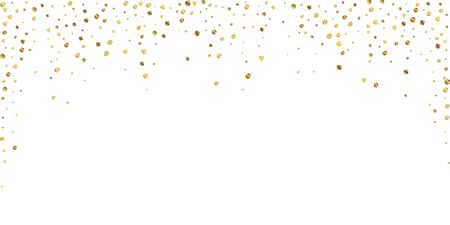 Sparse gold confetti luxury sparkling confetti. Scattered small gold particles on white background. Beauteous festive overlay template. Cute vector illustration. Vektorové ilustrace