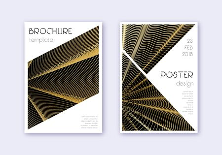 Triangle cover design template set. Gold abstract lines on black background. Great cover design. Favorable catalog, poster, book template etc.