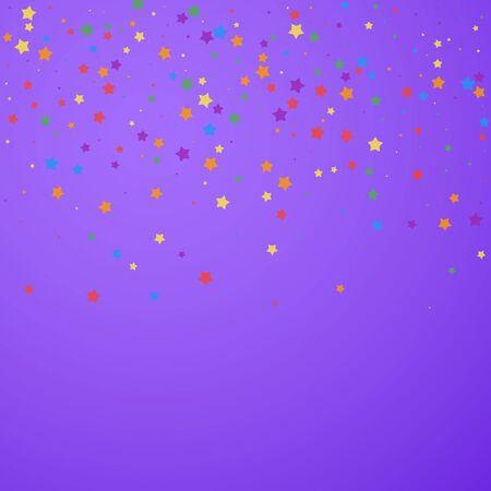 Festive confetti. Celebration stars. Joyous stars on bright purple background. Classic festive overlay template. Remarkable vector illustration.