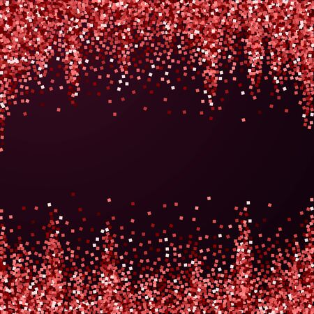 Red gold glitter luxury sparkling confetti. Scattered small gold particles on red maroon background. Alive festive overlay template. Classic vector illustration. Иллюстрация