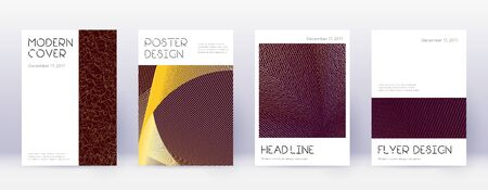 Minimal brochure design template set. Gold abstract lines on bordo background. Appealing brochure design. Extra catalog, poster, book template etc.