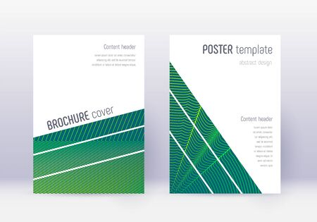 Geometric cover design template set. Green abstract lines on dark background. Breathtaking cover design. Charming catalog, poster, book template etc.