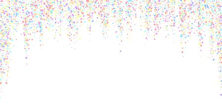 Festive confetti. Celebration stars. Colorful stars dense on white background. Dazzling festive overlay template.