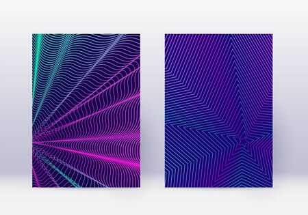 Cover design template set. Abstract lines modern brochure layout. Neon vibrant halftone gradients on dark blue background. Worthy brochure, catalog, poster, book etc.