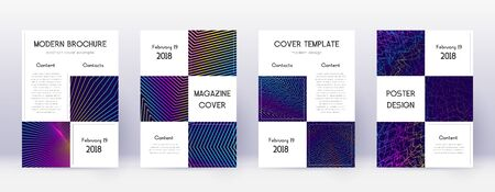 Business brochure design template set. Rainbow abstract lines on dark blue background. Adorable brochure design. Sublime catalog, poster, book template etc. Illusztráció