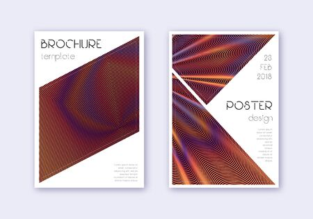 Triangle cover design template set. Orange abstract lines on wine red background. Imaginative cover design. Bizarre catalog, poster, book template etc.