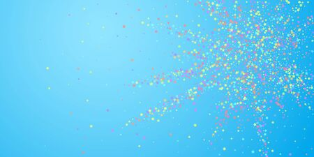 Festive confetti. Celebration stars. Colorful stars on blue sky background. Curious festive overlay template.