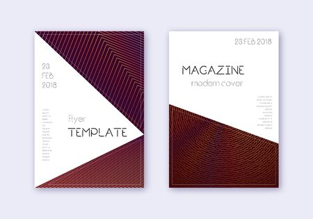 Triangle cover design template set. Orange abstract lines on wine red background. Incredible cover design. Enchanting catalog, poster, book template etc.