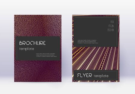 Black cover design template set. Gold abstract lines on maroon background. Alluring cover design. Energetic catalog, poster, book template etc.