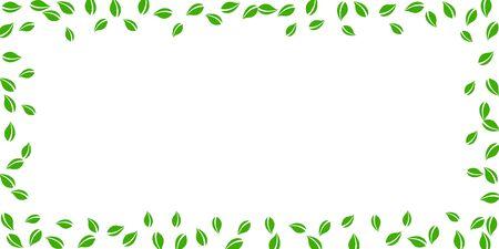 Falling green leaves. Fresh tea random leaves flying. Spring foliage dancing on white background. Amusing summer overlay template. Quaint spring sale vector illustration.