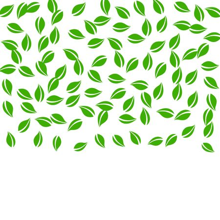 Falling green leaves. Fresh tea random leaves flying. Spring foliage dancing on white background. Alive summer overlay template. Powerful spring sale vector illustration.
