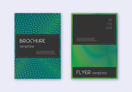 Black cover design template set. Green abstract lines on dark background. Alluring cover design. Perfect catalog, poster, book template etc.