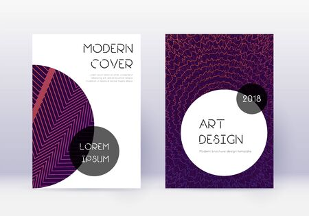 Trendy cover design template set. Violet abstract lines on dark background. Great cover design. Astonishing catalog, poster, book template etc.
