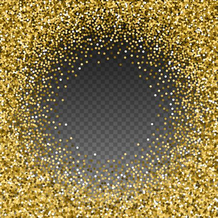 Round gold glitter luxury sparkling confetti. Scattered small gold particles on transparent background. Artistic festive overlay template. Authentic vector illustration.
