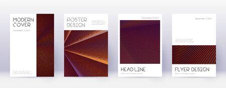 Minimal brochure design template set. Orange abstract lines on wine red background. Appealing brochure design. Terrific catalog, poster, book template etc. Vector Illustratie