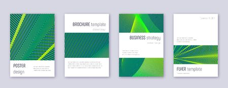 Minimalistic brochure design template set. Green abstract lines on dark background. Astonishing brochure design. Juicy catalog, poster, book template etc.
