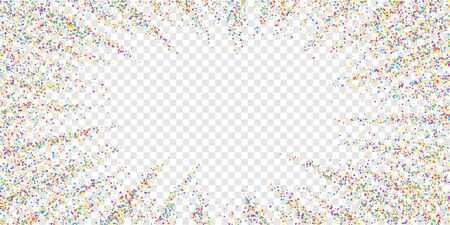 Festive confetti. Celebration stars. Colorful confetti on transparent background. Ecstatic festive overlay template. Stunning vector illustration. Illustration