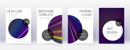Trendy brochure design template set. Rainbow abstract lines on dark blue background. Bizarre brochure design. Popular catalog, poster, book template etc. Vektorgrafik