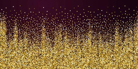 Gold glitter luxury sparkling confetti. Scattered small gold particles on red maroon background. Beautiful festive overlay template. Impressive vector illustration.