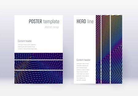Geometric cover design template set. Rainbow abstract lines on dark blue background. Bizarre cover design. Appealing catalog, poster, book template etc.