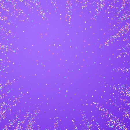 Festive confetti. Celebration stars. Colorful stars small on bright purple background. Comely festive overlay template. Original vector illustration.