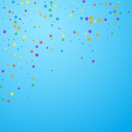 Festive confetti. Celebration stars. Joyous stars on blue sky background. Charming festive overlay template. Sightly vector illustration.