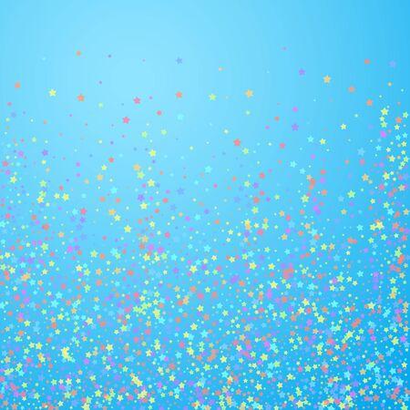 Festive confetti. Celebration stars. Colorful stars on blue sky background. Charming festive overlay template. Alluring vector illustration.