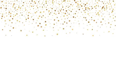 Sparse gold confetti luxury sparkling confetti. Scattered small gold particles on white background. Breathtaking festive overlay template. Noteworthy vector illustration.