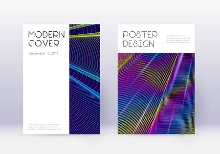 Minimal cover design template set. Rainbow abstract lines on dark blue background. Dazzling cover design. Splendid catalog, poster, book template etc.