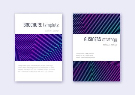 Minimalistic cover design template set. Neon abstract lines on dark blue background. Enchanting cover design. Memorable catalog, poster, book template etc. Illustration