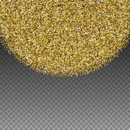 Gold triangles glitter luxury sparkling confetti. Scattered small gold particles on transparent background. Amusing festive overlay template. Outstanding vector illustration. Ilustração Vetorial