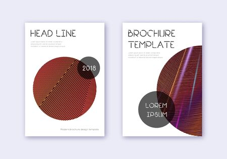 Trendy cover design template set. Orange abstract lines on wine red background. Fresh cover design. Sublime catalog, poster, book template etc.
