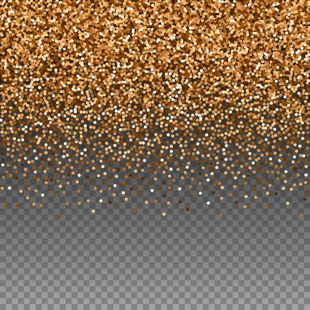 Red round gold glitter luxury sparkling confetti. Scattered small gold particles on transparent background. Alluring festive overlay template. Surprising vector illustration.