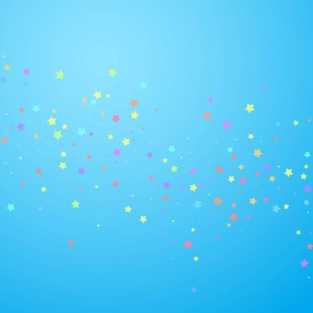 Festive confetti. Celebration stars. Colorful stars random on blue sky background. Eminent festive overlay template. Sublime vector illustration.
