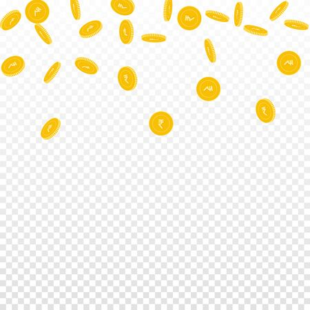 Indian rupee coins falling. Scattered sparse INR coins on transparent background. Sublime scatter top gradient vector illustration. Jackpot or success concept. Illusztráció