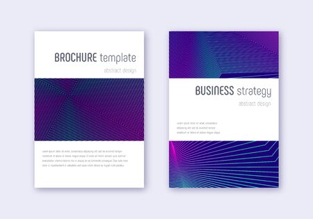 Minimalistic cover design template set. Neon abstract lines on dark blue background. Enchanting cover design. Extra catalog, poster, book template etc.